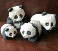 Set of 4 Artesania Rinconada Panda Bear Family Figurines Carved Ceramic Uruguay