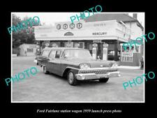 OLD LARGE HISTORIC PHOTO OF 1959 FORD FAIRLANE WAGON LAUNCH PRESS PHOTO 1