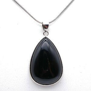 """Black Onyx Teardrop Necklace Silver Plated 20"""" Necklace Crystal Reiki Chakra UK"""