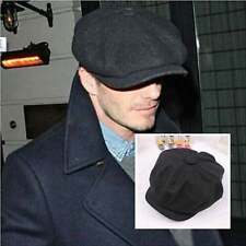 Men Wool Tweed Gatsby Cap Ivy Hat Golf Driving Winter Sun Flat Cabbie Black
