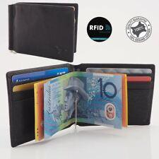 RFID Genuine Cowhide Leather Slim Men's Money Clip Wallet Card Holder, Black New