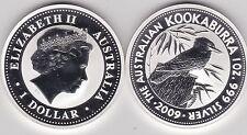2009 Australia Plata 1 onza Kookaburra en árbol Tocón con hojas en una cápsula