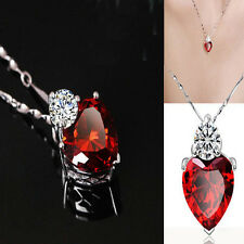HOT Silver Plated Crystal Love Heart Necklace Gift for Girlfriend Wife Mum
