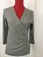 TALBOT'S FAUX WRAP TOP 3/4 SLEEVE V NECK SMALL Brown/Ivory