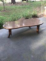VTG 50s 60s Mid-Century Modern MCM Kidney Bean Bamboo Leg Tiki Coffee Table
