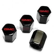 (4) GMC Red Logo Black ABS Car Tire/Wheel Pressure Air Stem Valve CAPS Covers