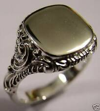 SIZE W LARGE MENS 9CT WHITE GOLD SQUARE ENGRAVED SIGNET RING *FREE EXPRESS POST