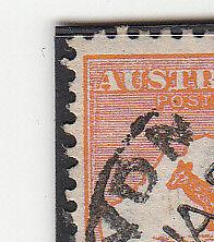 "Kangaroo stamp Australia 4d orange variety scratch 1st ""A"" down inner frame"