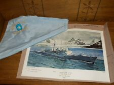 hms Manchester Off South Georgia Print - Signed Harry Fisher w/ Handkerchiefs