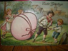 VINTAGE EASTER POSTCARD PINK EGG HUNT ROLL YOUNG CHILDREN 1907