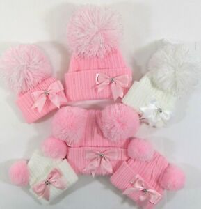 Baby Girls Knitted Winter Bow Bobble Hat Pink Grey Two Double 2 Pom Pom NB - 24