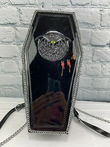 """BETSEY JOHNSON """"Can't Stop Coffin"""" Black Patent Backpack Crossbody Purse NWT $92"""
