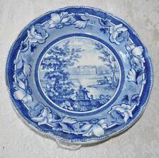 Historical Staffordshire Blue Plate Seat Of Sir Frances Burdett Reformer 1825