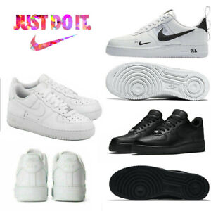 Women Men UK NIKE AIR FORCE 1'07 Sneaker Sport Shoes Sneakers White Blk Leather