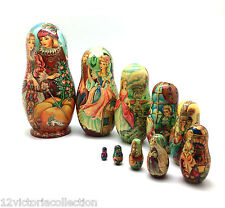 CINDERELLA Unique One of the Kind Art Russian Nesting DOLL 10 piece Set signed