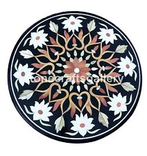 """24"""" Round Marble Corner Coffee Table Top White Floral Inlay Outdoor Decors B014"""
