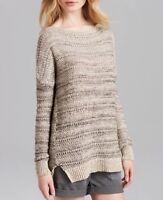 Vince Slub Sweater Tunic L Large Beige Teak Mix L/S Boat Neck New Nwt $325