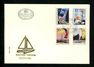 Postal History Yugoslavia FDC #1743-1746 sports sailboats yacht windsurfing 1985