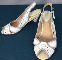 Used Frye Ada Sling Back Womens Peep Toe Kitten Heels sz 7.5 M White