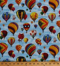 Cotton Hot Air Balloons Balloon Festival In Motion Fabric Print by Yard D750.02