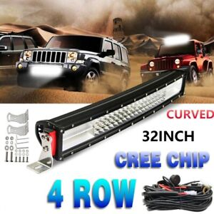 """Quad Row 32inch 1800W LED Light Bar Curved Combo Offroad Driving 34"""" 35"""" 31"""" 30"""""""