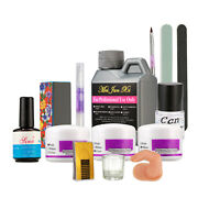 Acrylic Nail Art Kit Set 3 Color Acrylic Powder 120ml Liquid Dappen Dish Brush