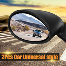 2x Universal Classic Car Door Side Wing Mirror & Gaskets Vintage Matte Black L+R