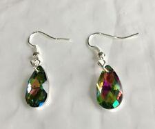 Lady Multi AB clear Handmade Teardrop Earrings Diamante Crystal Gem Jewellery