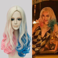Fashion Suicide Squad Harley Quinn Gradient Curly Cosplay Costume Halloween Wig