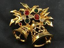 Vintage Christmas Bells Brooch Pin Signed Avon Gold Tone Metal w Rhinestones