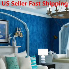 10m Blue Non-woven Wallpaper Roll Textured Embossed Mural Living Room Decor new