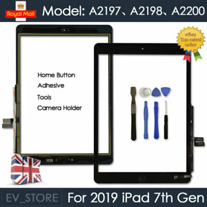For iPad 2019 7th Gen A2198 A2200 Screen Replacement Touch Digitizer Glass Black