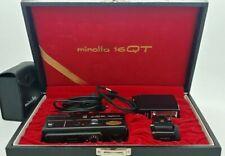 Vintage MINOLTA 16QT miniature 16mm Camera BLACK kit in original case LIKE NEW
