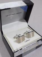 Geoffrey Beene Men's Silver / Gold Striped Cufflinks Set NIB MSRP $35 A70