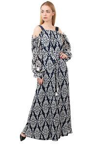 RRP €665 TORY BURCH Maxi Boho Dress Size L Wrap Effect Patterned Cold Shoulders