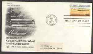 US. 1506. 10c. Wheat Fields and Train, Rural American. Art Craft FDC. 1974