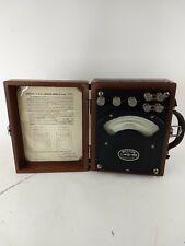Vintage Weston Electrical Instrument Model 370 Ammeter Wood Case good conditio