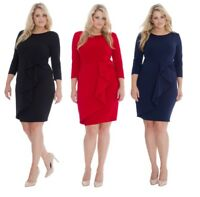 Ladies Gemma Collins Style Party Dress Goddess Waterfall Wrap TOWIE Plus Size