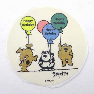 Vintage 1980s 80s RPP Boynton Round Sticker Bear Panda Happy Birthday Balloons