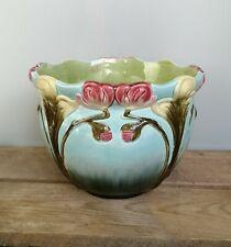 schöner Jugendstil Übertopf - Art Nouveau Cachepot - Orchideen Blüten