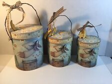 Set 3 Country Nesting Boxes God Bless This House Angels Moons Stars Wire Handle