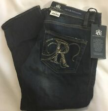 Women's Jeans ROCK & REPUBLIC DENIM ROSKILDE Dark Blue Rhinestone Bling Capri 2