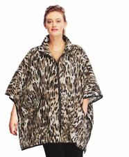 IC Collection Leopard Black Print Zip Front Boxy Poncho M