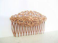 Rose gold copper metal alloy filigree hair comb clip barrette