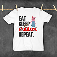 Eat Sleep Roblox Repeat Funny Piggy T-shirt Gamer Gaming Birthday Top Gift Tee