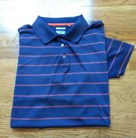 ADIDAS GOLF CLIMACOOL Polo Shirt Blue Orange Stripe Polyester Men's Sz XL EUC