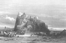 Naples Italy, MEDEIVAL ARAGONESE CASTLE OF ISCHIA ~ Old 1841 Art Print Engraving