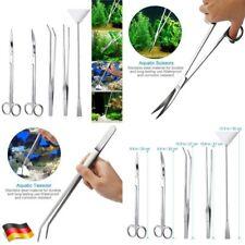 5in1 Edelstahl Aquarium Schere für Pflanze Pinzette&Scheren Gerade 25-27-32cm DE