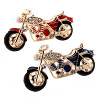 Enamel Motorcycle Brooch Pin Rhinestone Crystal Suit Collar Brooch Jewelry FT