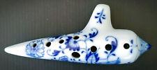 MEISSEN - Ocarina Flute Instrument RARE! Blue Onion Pattern 19c Antique Vintage